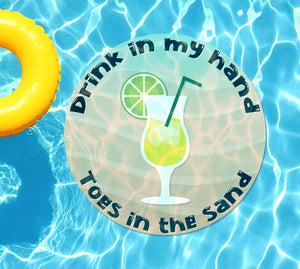 Drink In My Hand Toes in the Sand #7 Underwater Pool Mat Tattoo