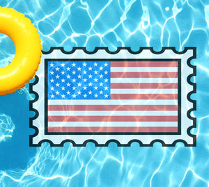 American Flag Stamp Underwater Pool Mat Tattoo