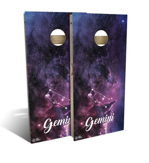 cornhole board set with gemini zodiac design