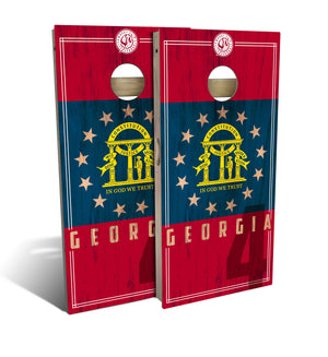 Georgia State Flag 2.0 Cornhole Board Set (includes 8 bags)