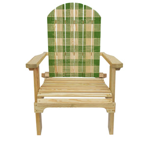 Country Living Green Checker Pattern Adirondack Chair