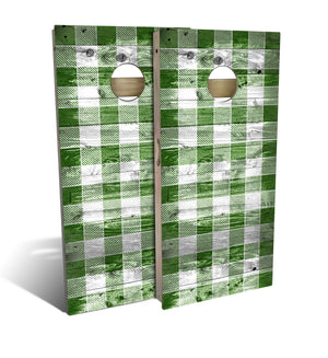 Country Living Rustic Green Checker Pattern Cornhole Board Set (includes 8 bags)