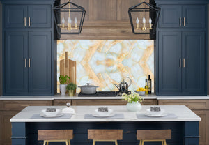 Green & Gold Marble Accent Wall