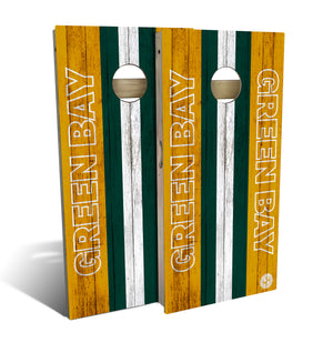 cornhole board set with Green Bay Packers football design