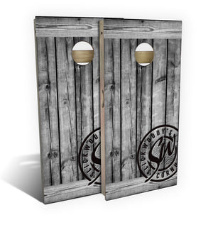 cornhole board set with rustic grey barnwood design graphic