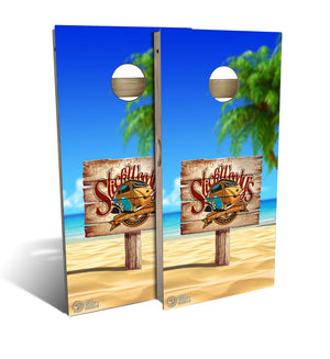 cornhole board set with Slick Woody's Heritage Beach Sign design