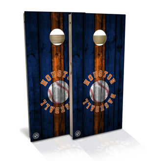cornhole board set with houston baseball