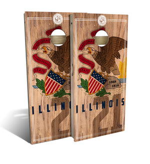 Illinois State Flag 2.0 Cornhole Board Set (includes 8 bags)