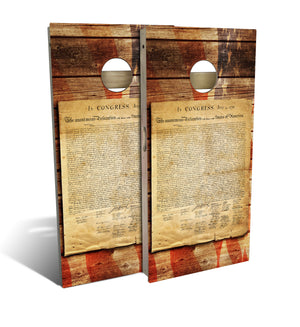 cornhole board set with the decloration of independence