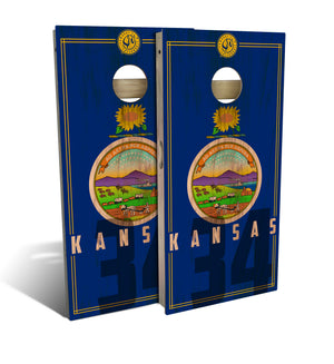 Kansas State Flag 2.0 Cornhole Board Set (includes 8 bags)