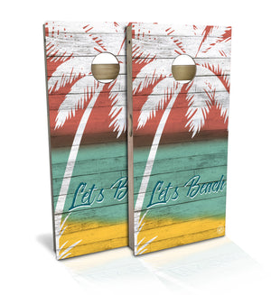 Cornhole Board Set with White Palm Tree and Colorful Shiplap Background