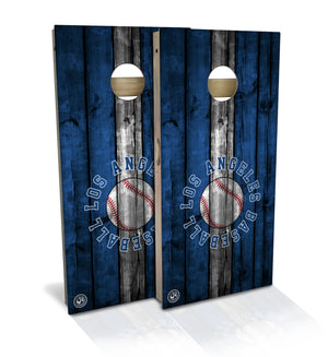 cornhole board set with los angeles baseball