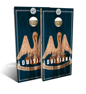 Louisiana State Flag 2.0 Cornhole Board Set (includes 8 bags)