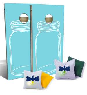 Front of two cornhole boards with blue mason jar design, along with light-up cornhole bags with firefly designs