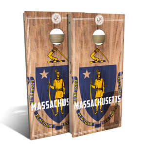 Massachusetts State Flag 2.0 Cornhole Board Set (includes 8 bags)