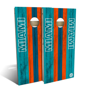cornhole board set with Miami Dolphins football design