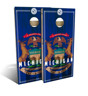 Michigan State Flag 2.0 Cornhole Board Set (includes 8 bags)