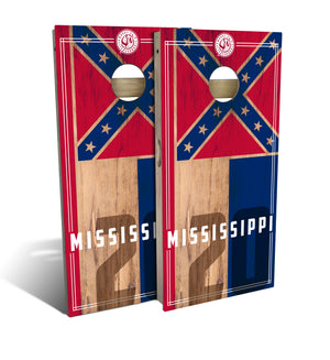 Mississippi State Flag 2.0 Cornhole Board Set (includes 8 bags)
