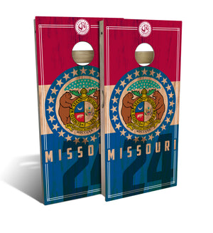 Missouri State Flag 2.0 Cornhole Board Set (includes 8 bags)
