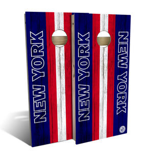 cornhole board set with New York Giants football design