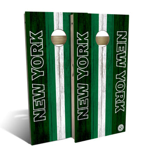 cornhole board set with New York Jets football design