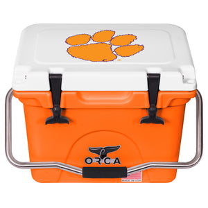 ORCA ORANGE/WHITE 20 QUART COOLER CLEMSON UNIVERSITY