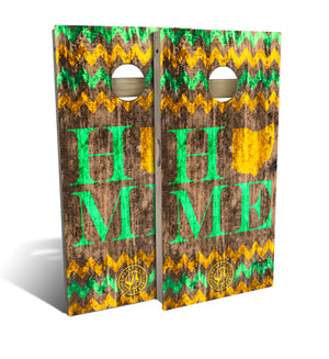 cornhole board set with home and chevron design in yellow and green