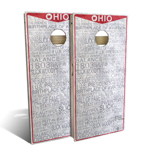 cornhole board set with ohio license plate design
