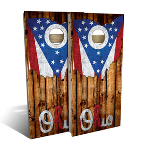 cornhole board set with rustic pallet wood and ohio outline and flag