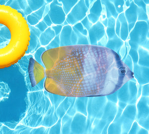 Yellow, White & Purple Fish Underwater Pool Mat Tattoo