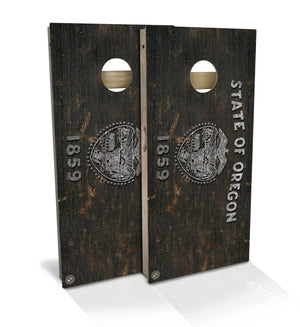 Oregon State Flag Vintage Cornhole Board Set