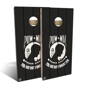 cornhole board set with POW-MIA flag design