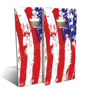 cornhole board set with painted american flag design