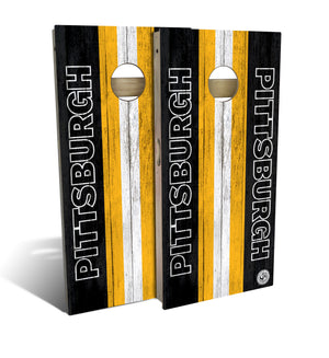 cornhole board set with Pittsburgh Steelers football design