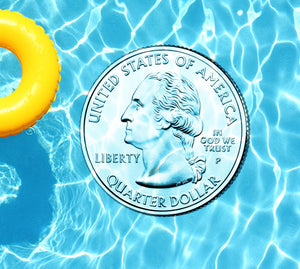 Quarter Dollar Underwater Pool Mat Tattoo
