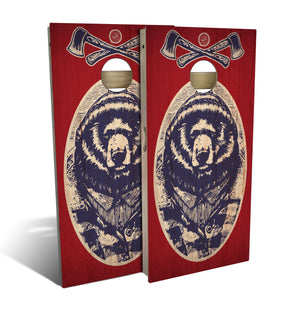 Red White & Bear Cornhole Set