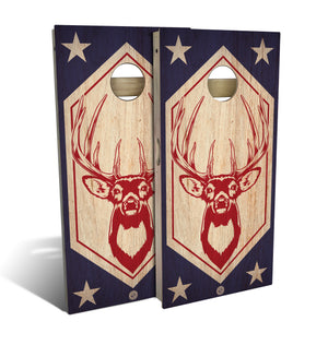 Red White and Buck Cornhole Set