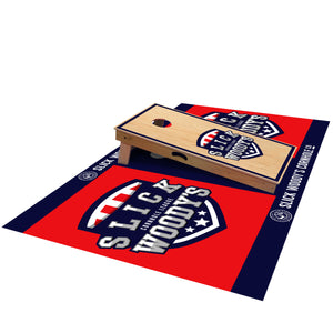 Slick Woody's League Pitch Pad - side view with cornhole board on top