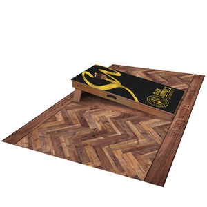 Slick Woody's Wood Pattern Pitch Pad - side view with cornhole board on top