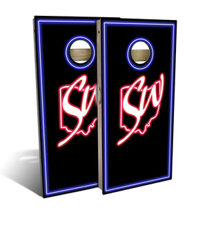 Slick Woody's Neon Lights Cornhole Board Set