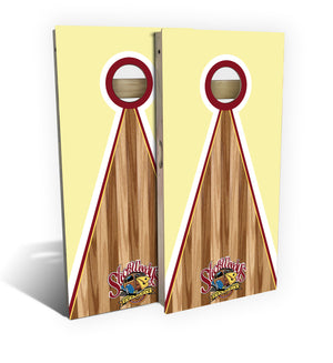 cornhole board set with slick woody's pyramid design graphic