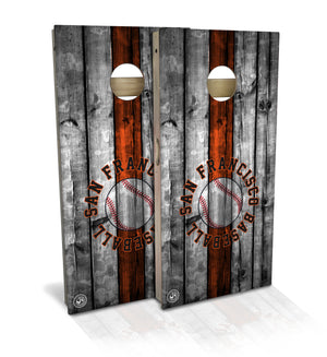 cornhole board set with san francisco baseball