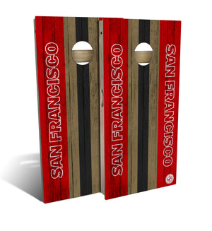 cornhole board set with San Francisco 49ers football design