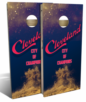 City of Champions Cleveland Cornhole Board Set, Blue & Red (includes 8 bags)