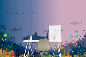 Underwater Sharks Accent Wall