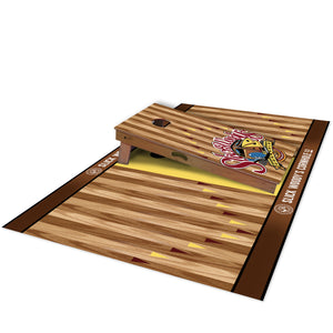 Slick Woody's Signature Pitch Pad - side view with cornhole board on top