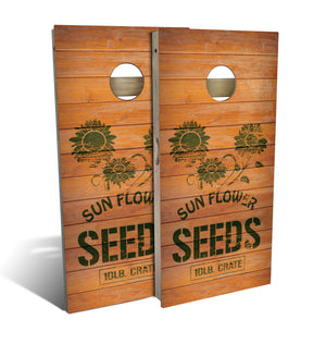 Country Living Sunflower Seed Crate Cornhole Board Set (includes 8 bags)