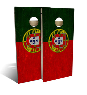 Front of two cornhole boards with Portugal State Flag design