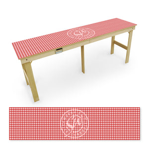 Red and White checkered Tailgate Table