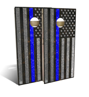 cornhole board set with thin blue line flag design